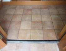玄関タイル:薬剤洗い施工の写真
